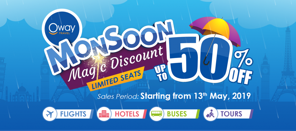 Monsoon Magic Sales – Up to 50% Discount on Flights, Hotels, Express Buses, & Tours!
